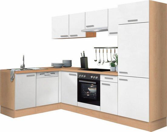 OPTIFIT Winkelküche »Odense«, ohne E-Geräte, Stellbreite 275 x 175 cm, mit 28 mm starker Arbeitsplatte, mit Gratis Besteckeinsatz