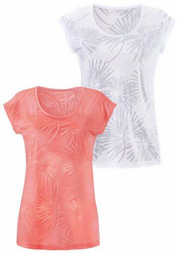 Beachtime T-Shirts (2 Stück) in Palmen-Ausbrenner-Optik