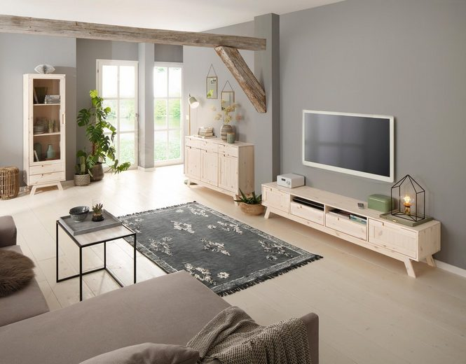 Home affaire Lowboard »Ohio«, im traditionellem Design und vielen Stauraummöglichkeiten, Breite 180 cm