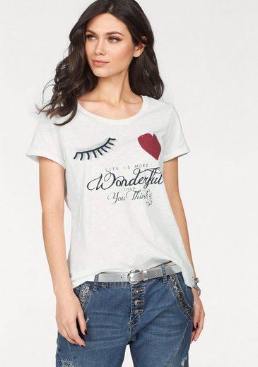 Cream Rundhalsshirt VALERIE