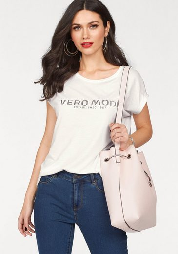 Vero Moda Rundhalsshirt VERO, mit Strass Logo