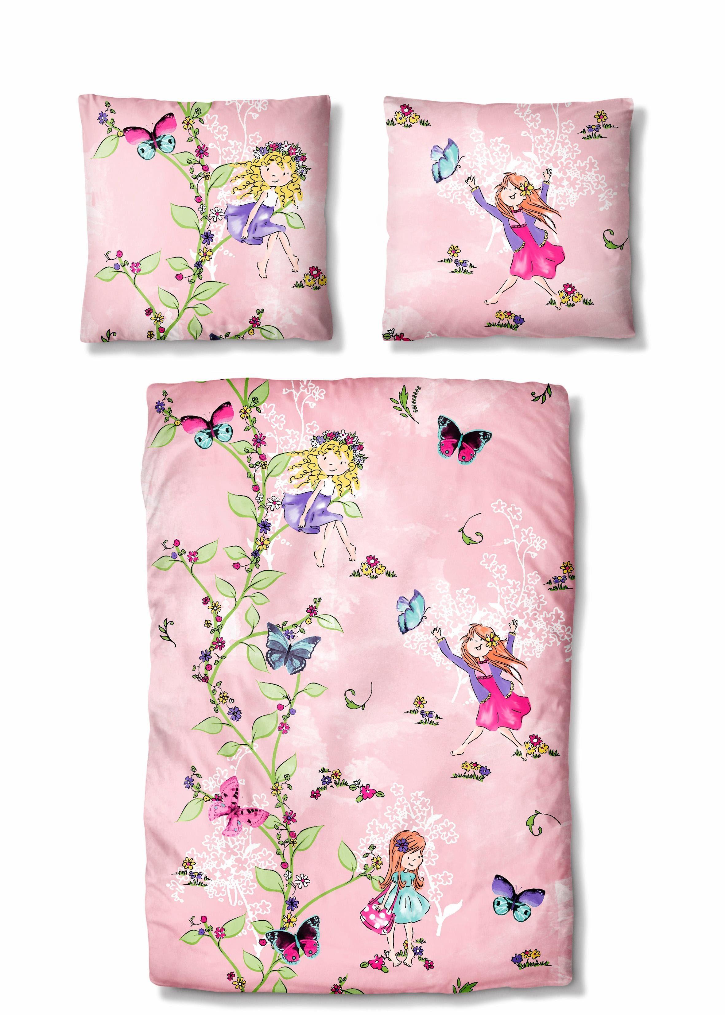 Kinderbettwäsche »Fairytale«, Auro Hometextile, mit Schmetterlingen und Feen