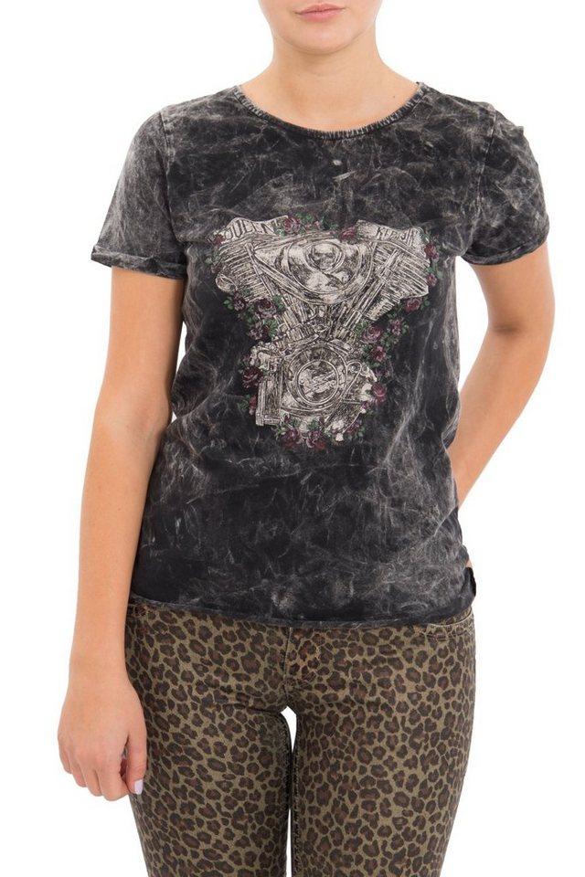 QueenKerosin Print-Shirt mit Druck und Ärmelaufschlag | Bekleidung > Shirts > Print-Shirts | Schwarz | QueenKerosin