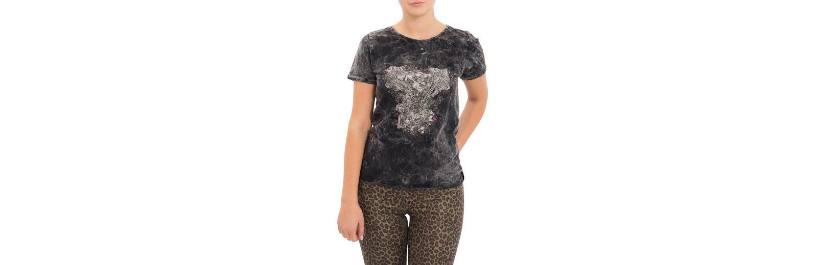 QueenKerosin Print-Shirt, mit Druck und Ärmelaufschlag