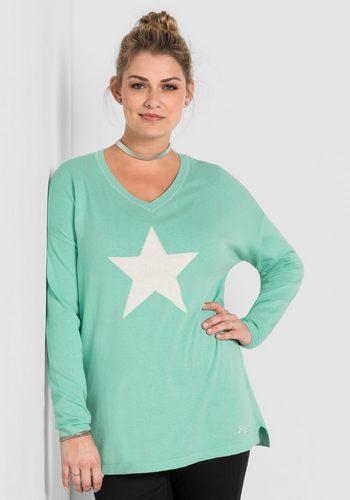 Damen sheego Casual Longpullover mit eingestricktem Sternmotiv grün | 04054697742244