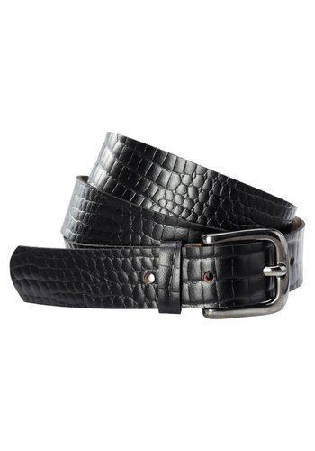 Damen sheego Accessoires Ledergürtel aus Rindsleder mit Reptilien-Prägung schwarz   04054697999563