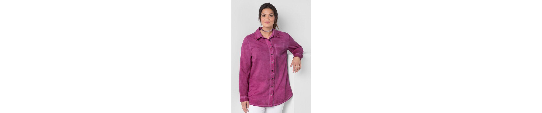 sheego Casual Hemdbluse, Oil-Washed-Optik, jedes Teil ein Unikat