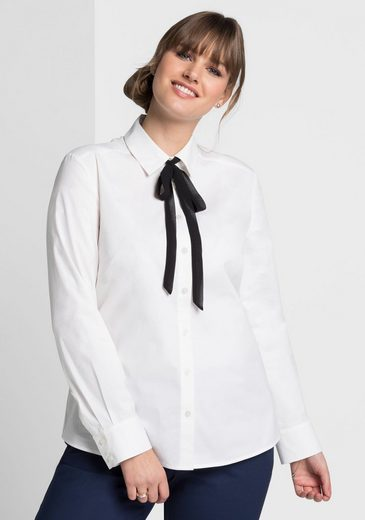 sheego Style Hemdbluse, Mit abnehmbarer Schleife