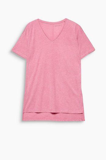 ESPRIT Fließendes Slub-Shirt mit V-Ausschnitt