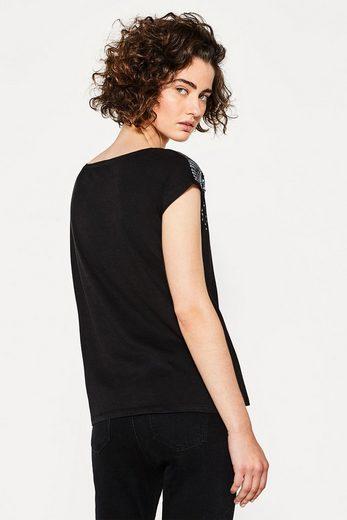 EDC BY ESPRIT T-Shirt mit schillernden Pailletten