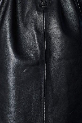 ESPRIT Rock mit Zierknopfleiste, 100% Leder