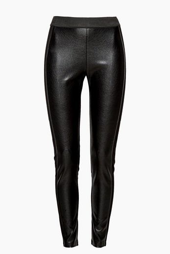 ESPRIT Leggings mit Leder-Look-Front