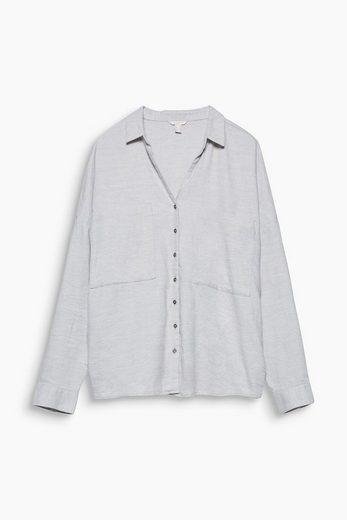 ESPRIT Softe Twill-Bluse aus 100% Baumwolle