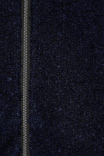 ESPRIT Bouclé-Strickmantel mit gefütterter Kapuze
