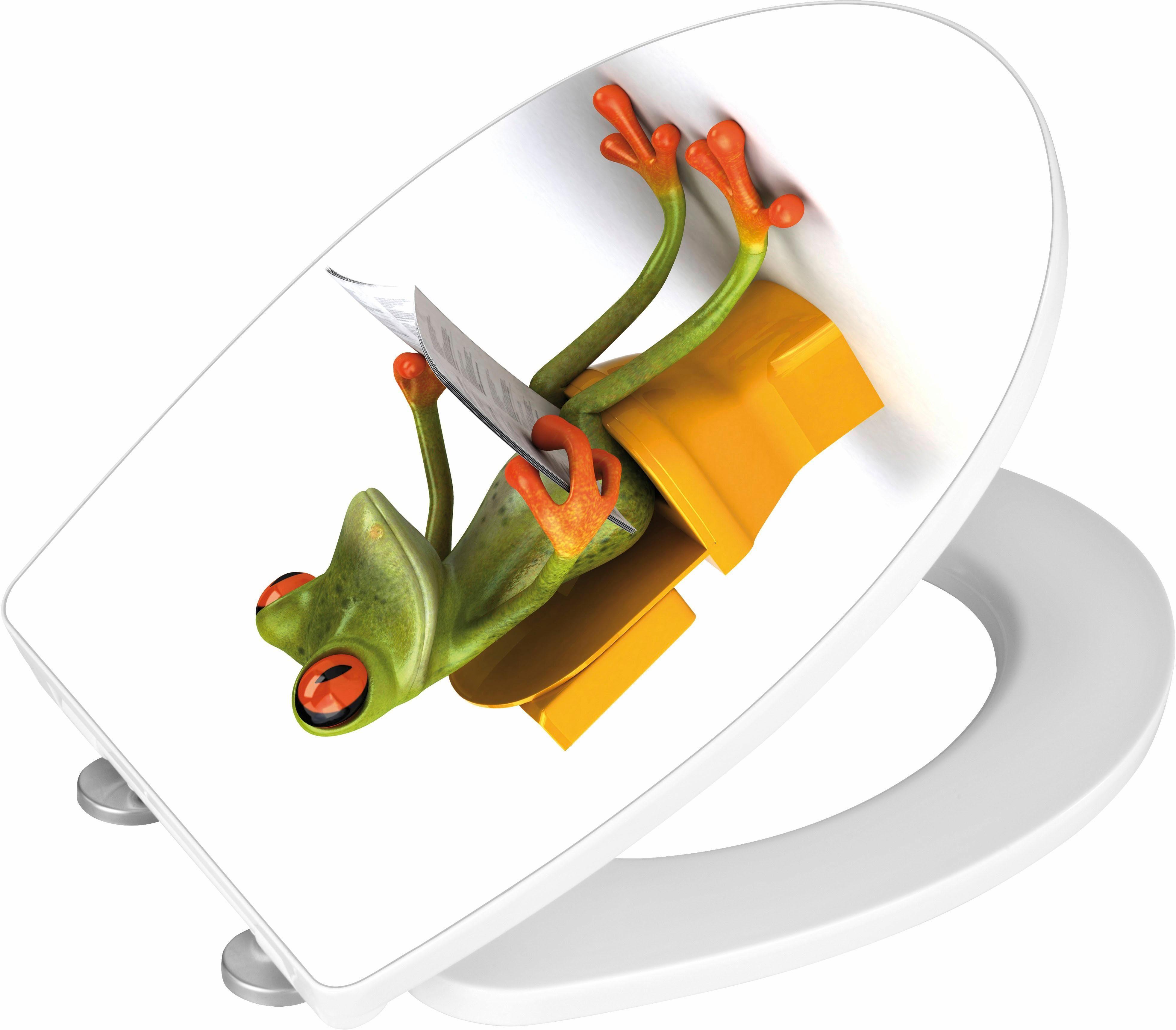 WENKO WC-Sitz Hochglanz Acryl Frog News, Absenkautomatik, Fix-Clip Hygiene Befestigung