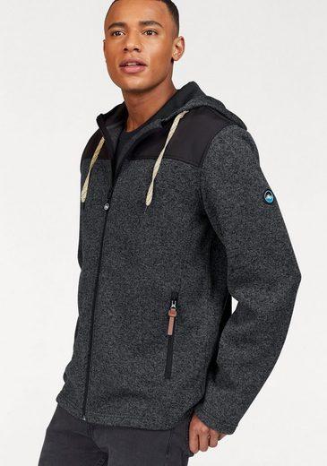 Polarino Strickfleecejacke mit Kapuze und Zippertaschen