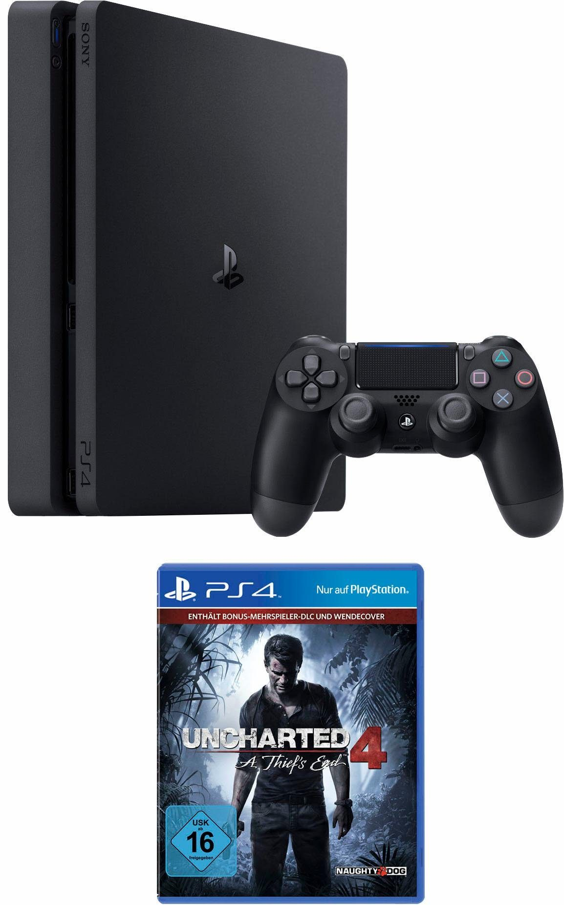 PlayStation 4 (PS4) 500GB slim + Uncharted 4 Plus Edition