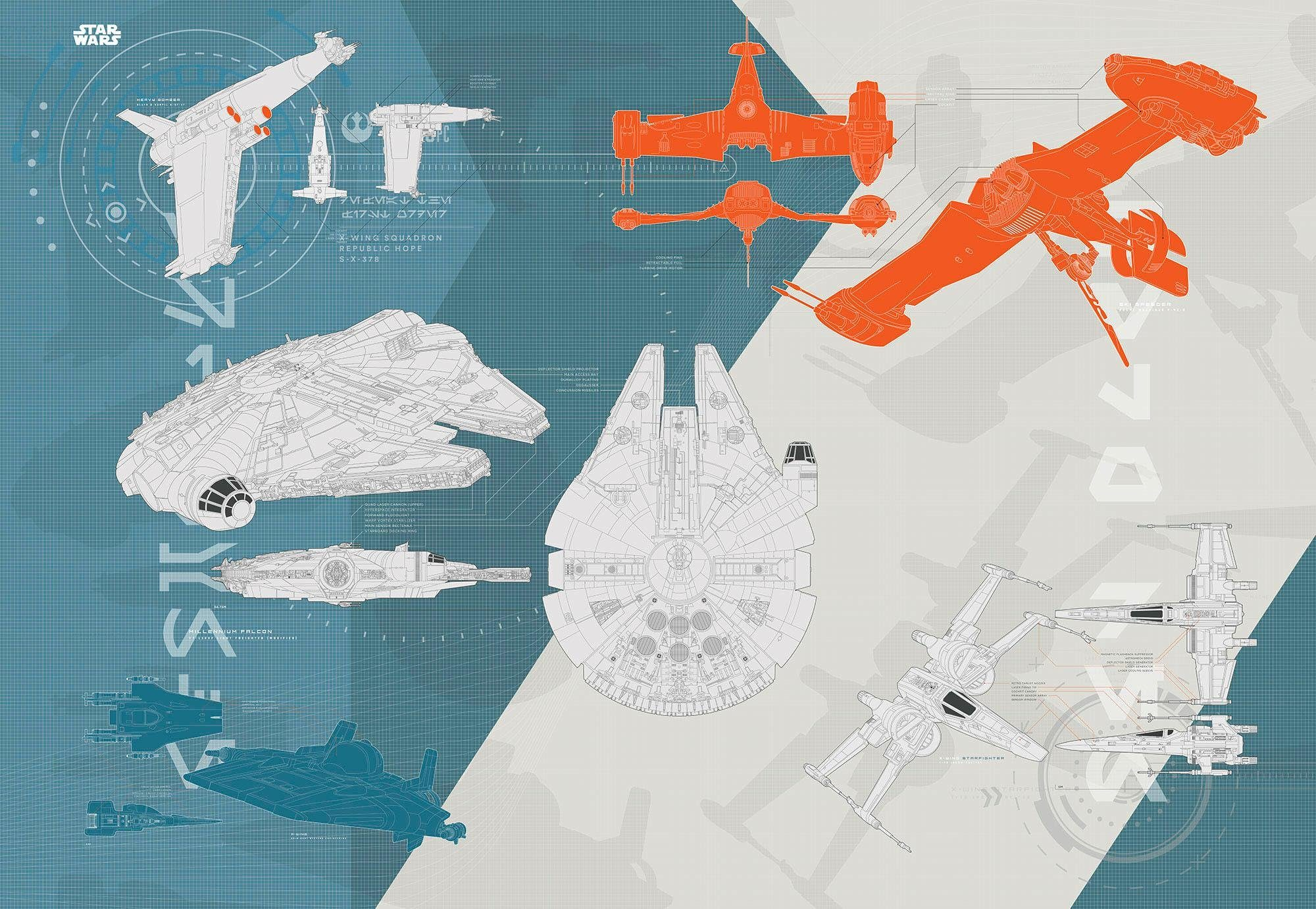 Komar Fototapete »Disney Star Wars – Technical Plan« 368/254 cm