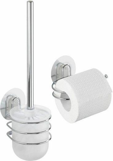 WC-Garnitur »Osimo«, WENKO, (Set, 2-tlg., Einfach Schutzfolie abziehen und das gummierte Pad ansaugen lassen, Wandmontage erforderlich), 2-teiliges Set