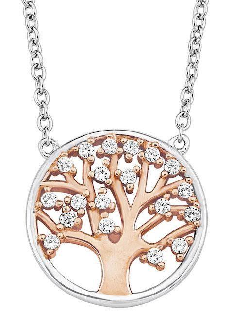 Amor Kette mit Anhänger »Lebensbaum«, mit Zirkonia