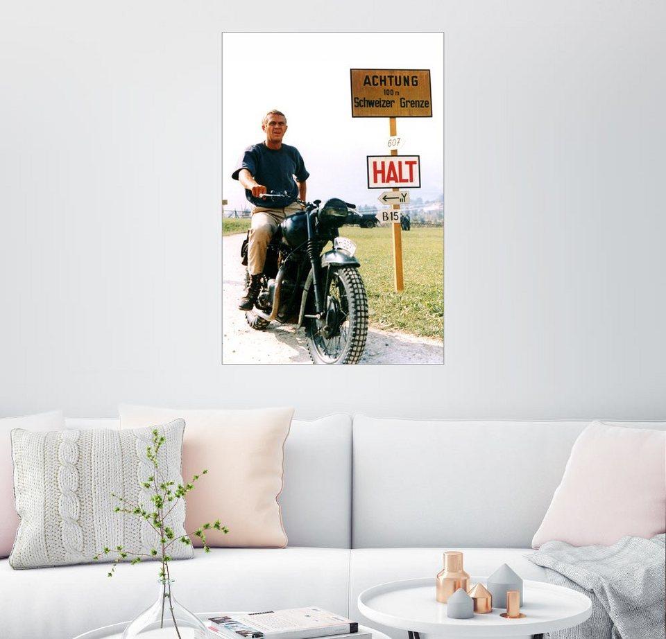 posterlounge wandbild steve mcqueen auf einem motorrad. Black Bedroom Furniture Sets. Home Design Ideas