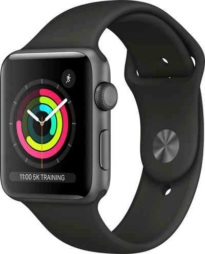 Apple Series 3 GPS, Aluminiumgehäuse mit Sportarmband 42mm Watch (Watch OS 5), inkl. Ladestation (magnetisches Ladekabel)