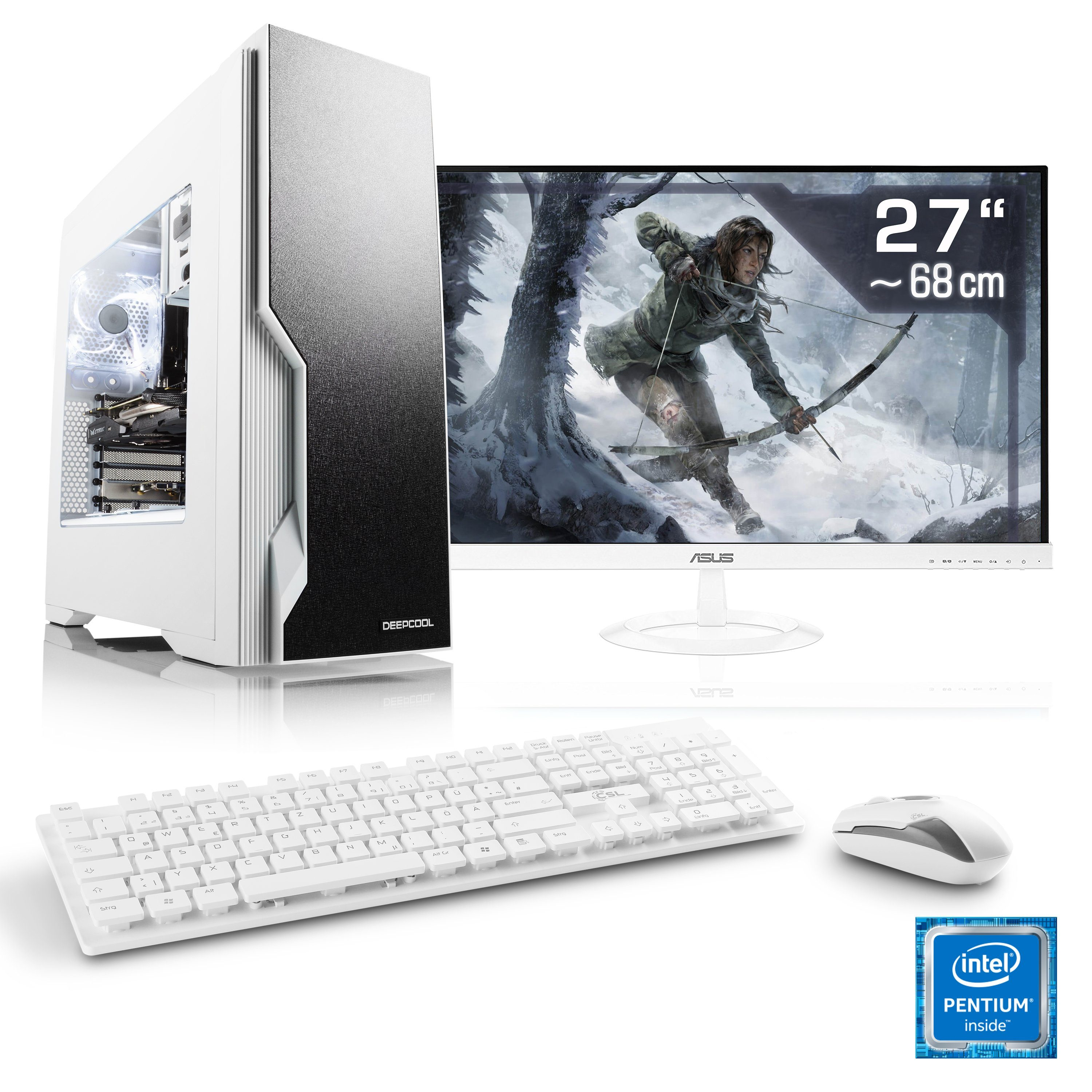 "CSL Gaming PC Set Pentium G4560 | GTX 1050 Ti | 16 GB DDR4 | 27"" TFT »Speed T1564 Windows 10 Home«"