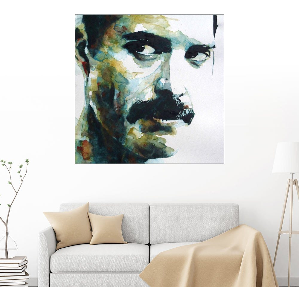 Posterlounge Wandbild - Paul Paul Lovering Arts »Freddie Mercury« | Dekoration | Holz | Posterlounge