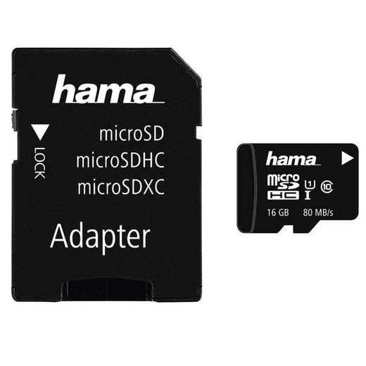 Hama microSDHC 16 GB Class 10 UHS-I 80MB/s + Adapter/Mobile »microSD Memory Card«