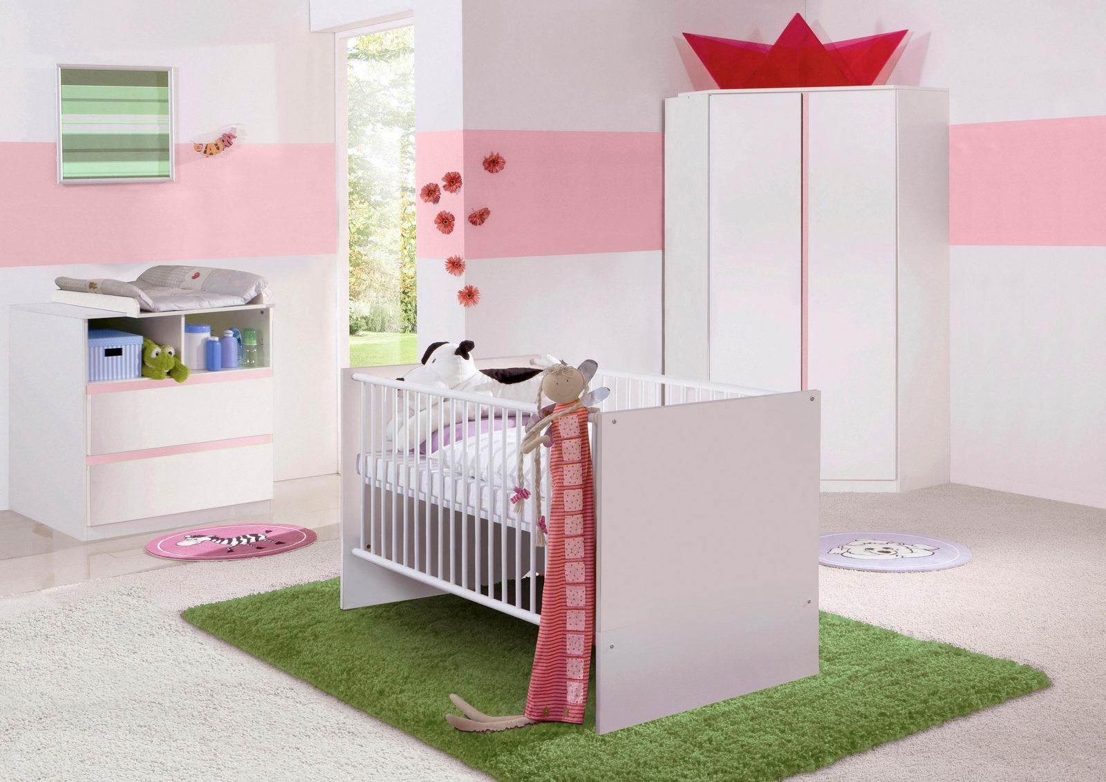 Komplett Babyzimmer »Rimini« Babybett + Wickelkommode Eckschrank, (3-tlg. Set), in alpinweiß/rosa