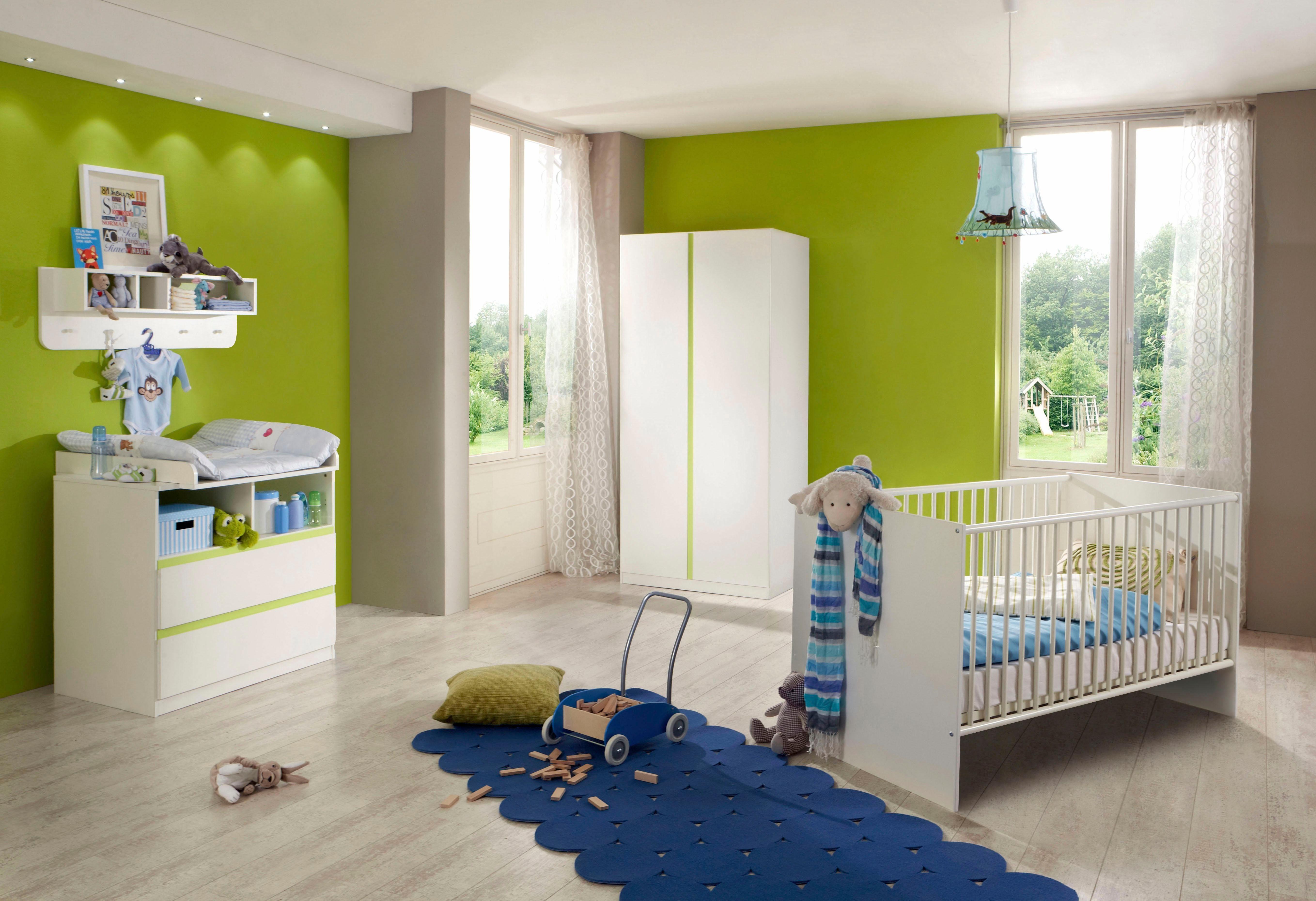 Komplett Babyzimmer »Rimini« Babybett + Wickelkommode + 2-trg. Kleiderschrank, (3-tlg. Set) in alpinweiß/ grün