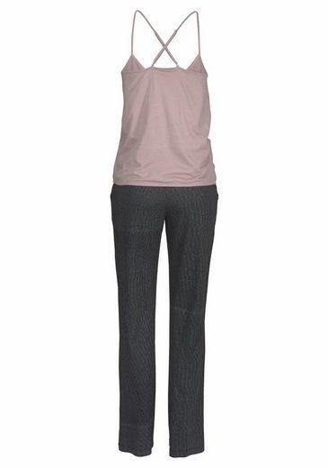 LASCANA Pyjama mit Wickeltop und Nadelstreifenhose
