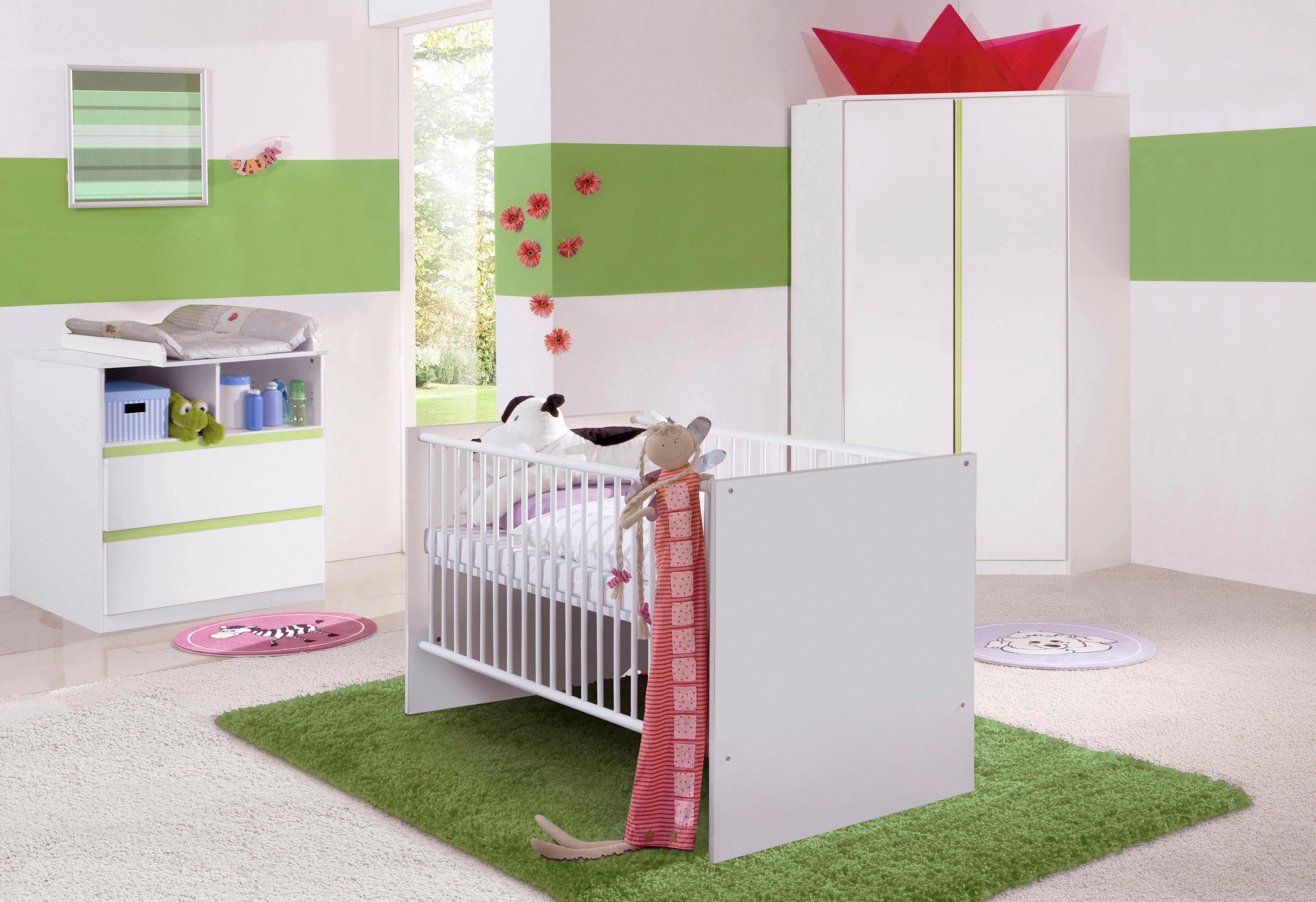 Komplett Babyzimmer »Rimini« Babybett + Wickelkommode + Eckschrank, (3-tlg. Set) in alpinweiß/ grün