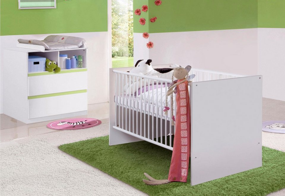 babyzimmer spar set rimini babybett wickelkommode 2 tlg in alpinwei gr n online kaufen. Black Bedroom Furniture Sets. Home Design Ideas