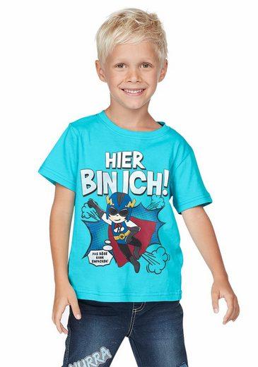 KIDSWORLD T-Shirt »Hier bin ich! Superheld« Druck