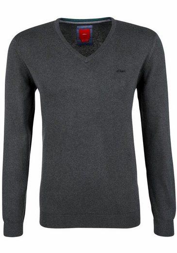 s.Oliver RED LABEL V-Ausschnitt-Pullover, mit Logo-Stickerei