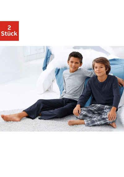 le jogger® Pyjama (2 tlg) in langer Form, Hose 1x uni und 1x kariert