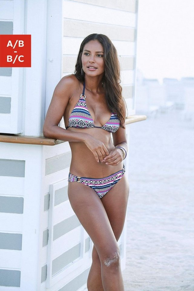 Bademode - LASCANA Triangel Bikini Top »Wintu«, mit goldfarbenen Zierringen › blau  - Onlineshop OTTO