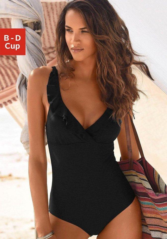 Bademode - JETTE Badeanzug, mit eleganter Rüsche › schwarz  - Onlineshop OTTO