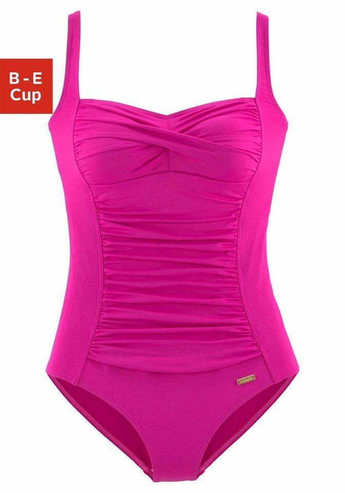 Bademode - LASCANA Badeanzug, mit Raffungen vorn › rosa  - Onlineshop OTTO