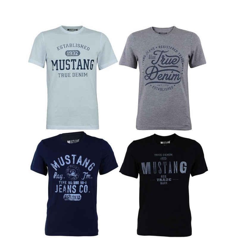 MUSTANG T-Shirt »4er Pack Mustang Herren T-Shirt« (4-tlg) aus 100% Baumwolle