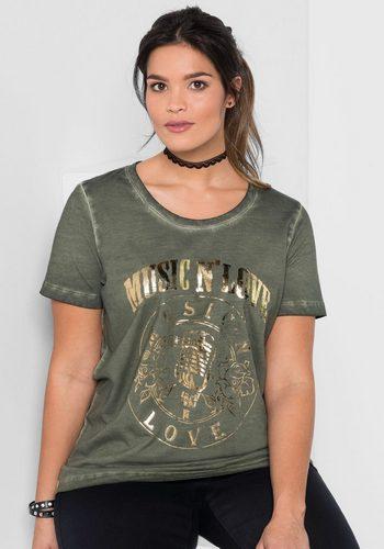 Damen sheego Casual T-Shirt in Oil-Washed-Optik grün | 04054697797565
