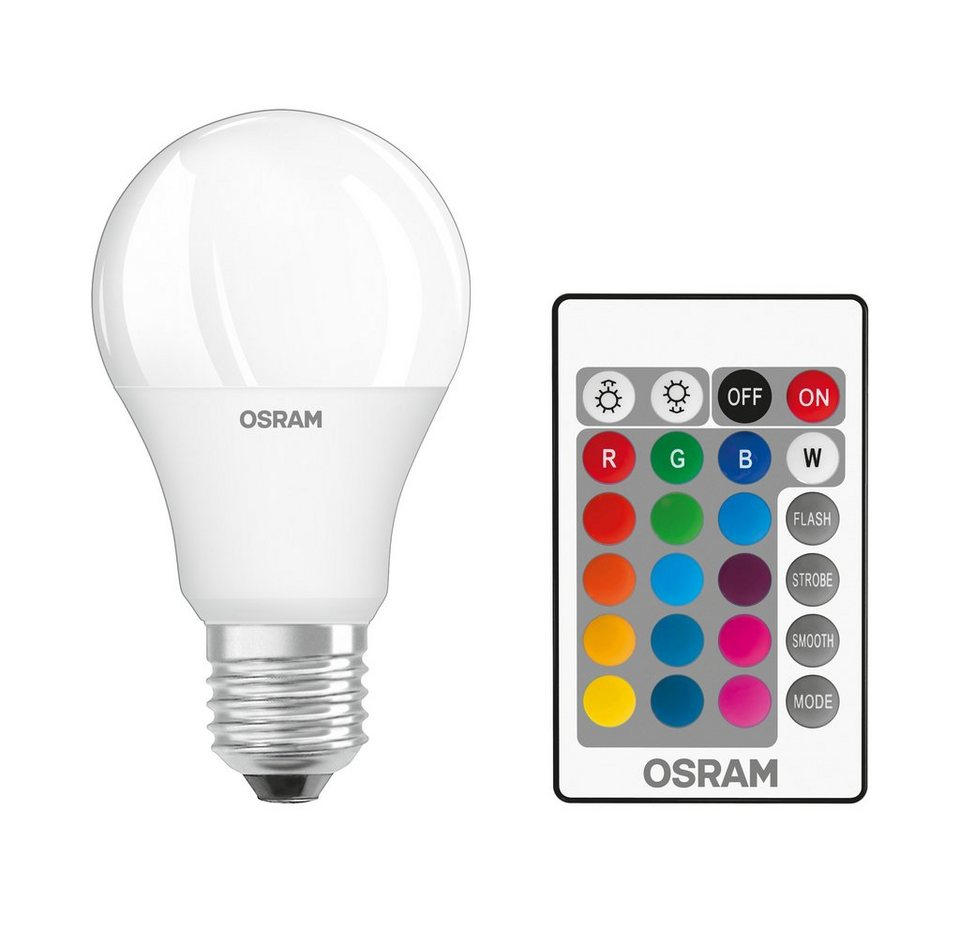 osram star classic led rgbw lampe mit fernbedienung st clas a 60 9 w 827 e27 rgbw online. Black Bedroom Furniture Sets. Home Design Ideas