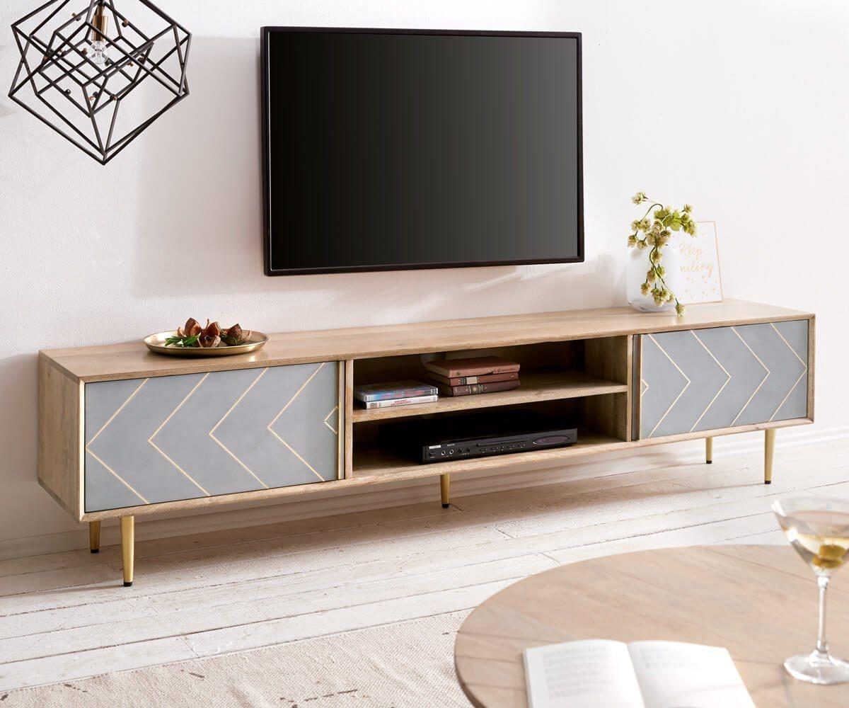 TV Möbel - DELIFE Fernsehtisch Metropolitan Mango Natur 200 cm 2 Türen  - Onlineshop OTTO