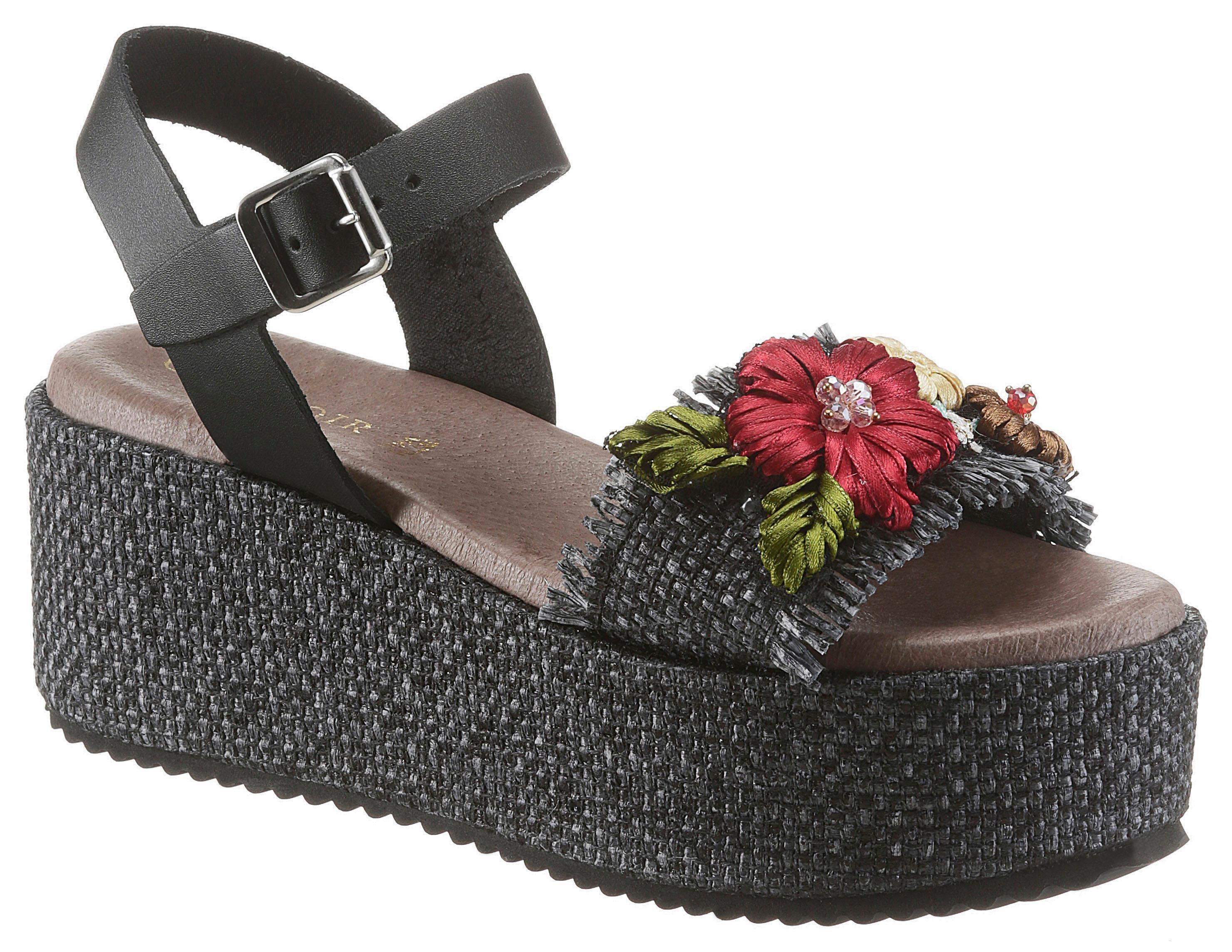 Cafe Noir Sandalette mit sommerlicher Blütenstickerei | Schuhe > Sandalen & Zehentrenner > Sandalen | Cafe Noir