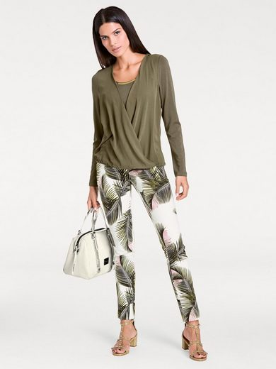 ASHLEY BROOKE by Heine Druckhose mit Blätter-Dessin