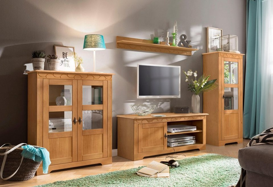 home affaire 3 teilige wohnwand laura mit 1 vitrine 1 tv lowboard und 1 highboard online. Black Bedroom Furniture Sets. Home Design Ideas