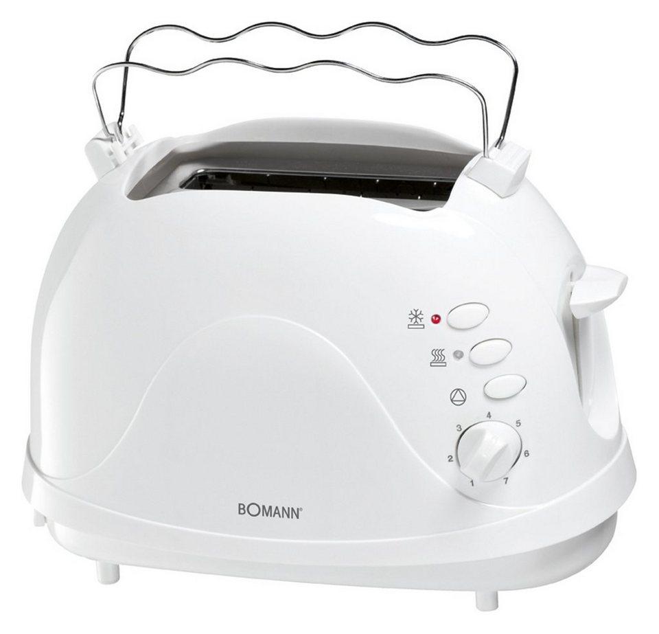 BOMANN 2 Scheiben-Toaster mit Brötchenaufsatz, Krümelschublade »TA ...