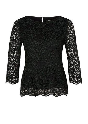 s.Oliver BLACK LABEL Blusenshirt aus floraler Spitze