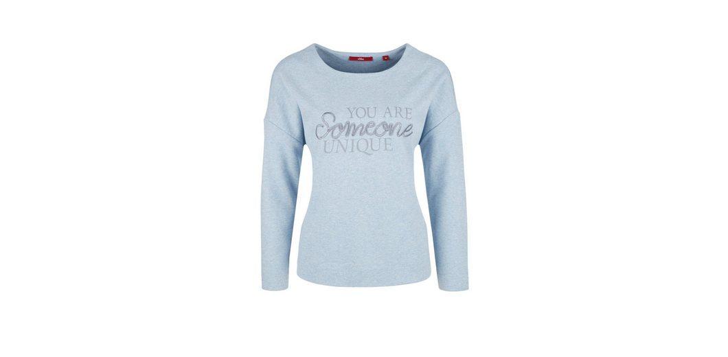 s.Oliver RED LABEL Meliertes Sweatshirt mit Print Billigster Günstiger Preis Billig Verkauf Zuverlässig Wahl Günstig Online Bester Preis Günstig Kaufen Finish 0iEujdy